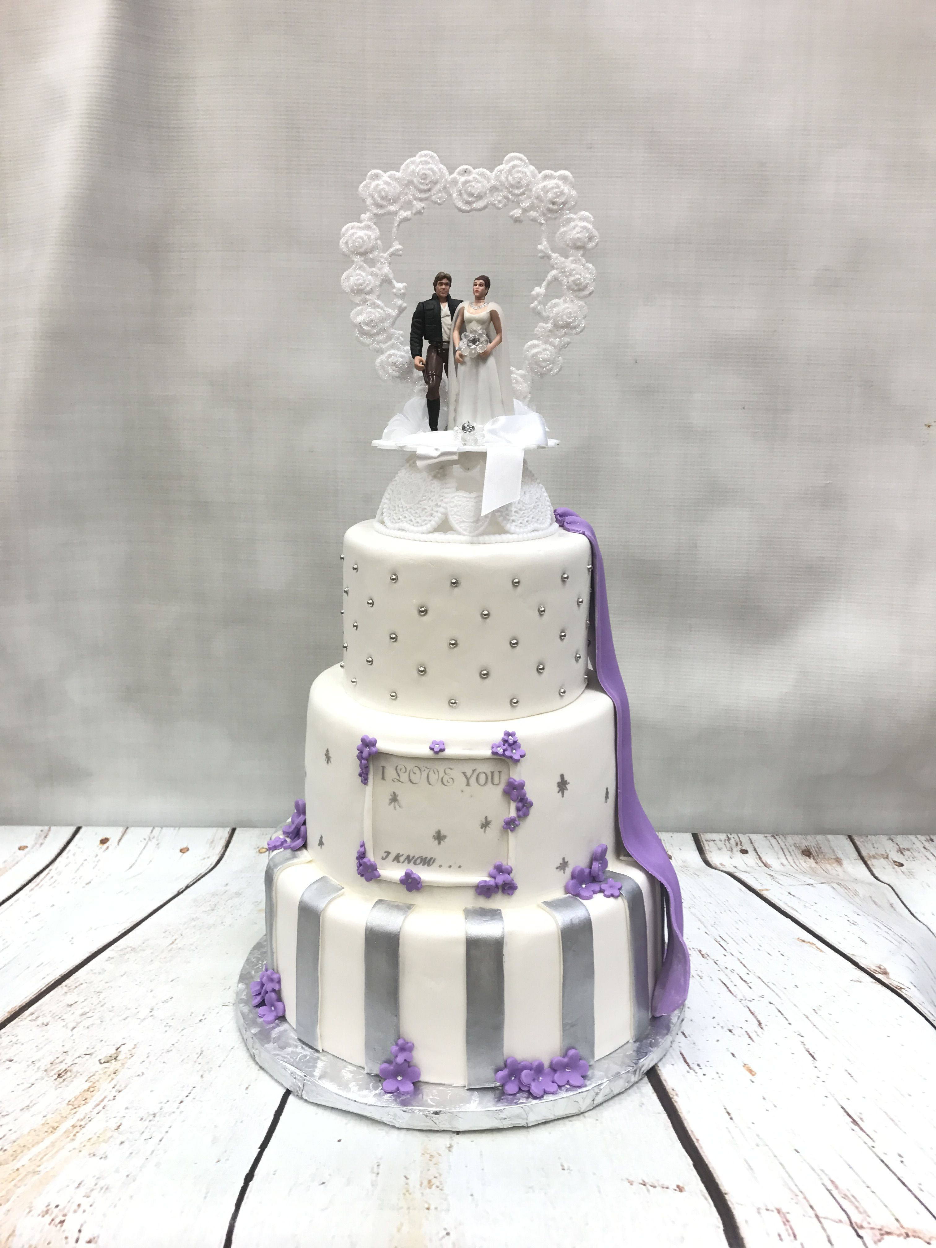 Star wars and lavender themed wedding cake | Wedding cakes ...