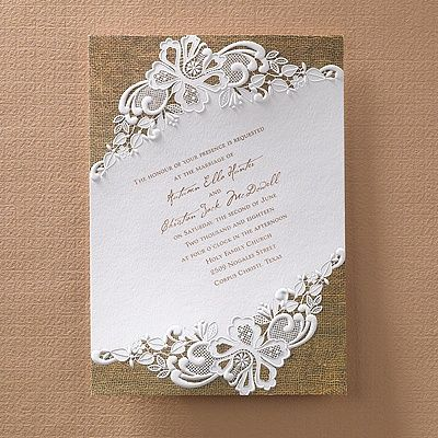 Rustic battenburg lace invitation manualidades pinterest beautiful embossing and a printed background make this burlap and lace wedding invitation perfect for your celebration solutioingenieria Gallery
