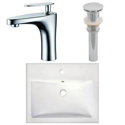 American Imaginations Ceramic Rectangular Vessel Bathroom Sink with