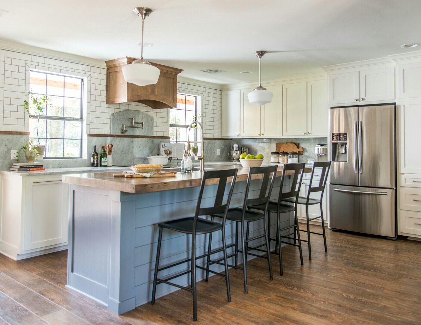 reclaimed bowling lane as kitchen island fixer upper kitchen on kitchen layout ideas with island joanna gaines id=92324
