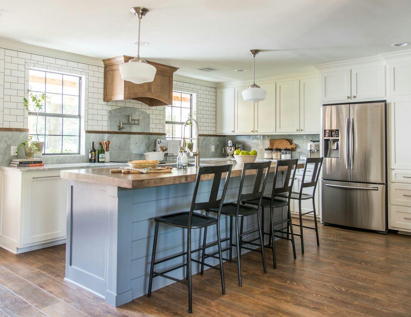 Fixer upper reclaimed wood kitchen island - Reclaimed Bowling Lane As Kitchen Island
