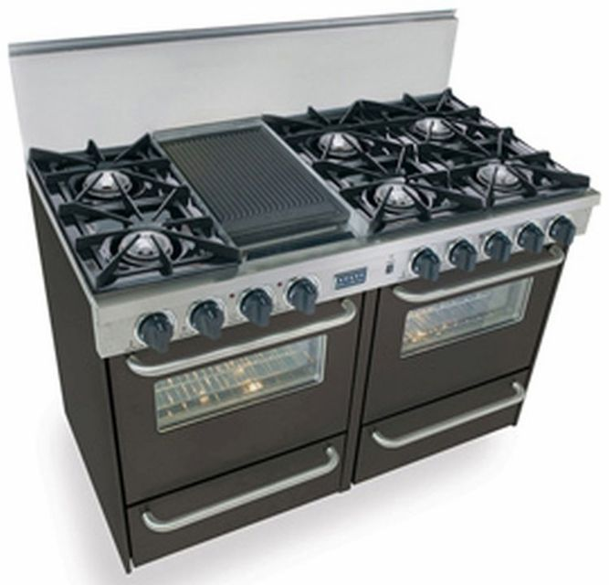 Ttn510 7w Five Star 48 Pro Style Gas Range With Open Burners Natural Gas Black Oven Cleaning Double Oven Range Double Oven