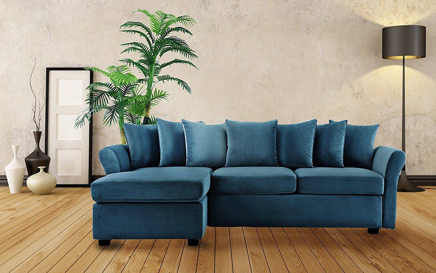 500 Modern Large Velvet Sectional Sofa L Shape Couch With Extra
