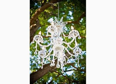 Chandelier hanging from tree. This cost me $200 from Menards   My ...