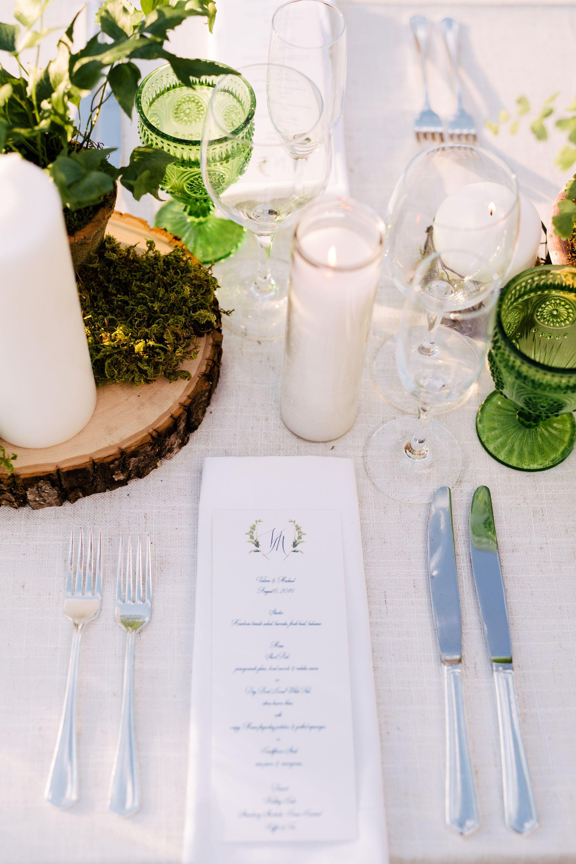 Green cut glass // greenery wedding // into the woods wedding // 42 ...