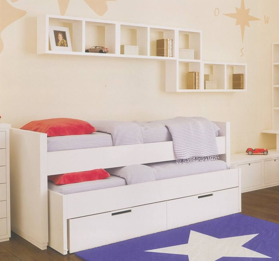 Cama infantil doble con cama nido inferior serie lisa for Cama doble con cajones