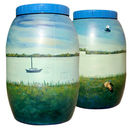 painted rain barrels | Painted by Brenden Manning, Back Room Manager at our Mandarin store.