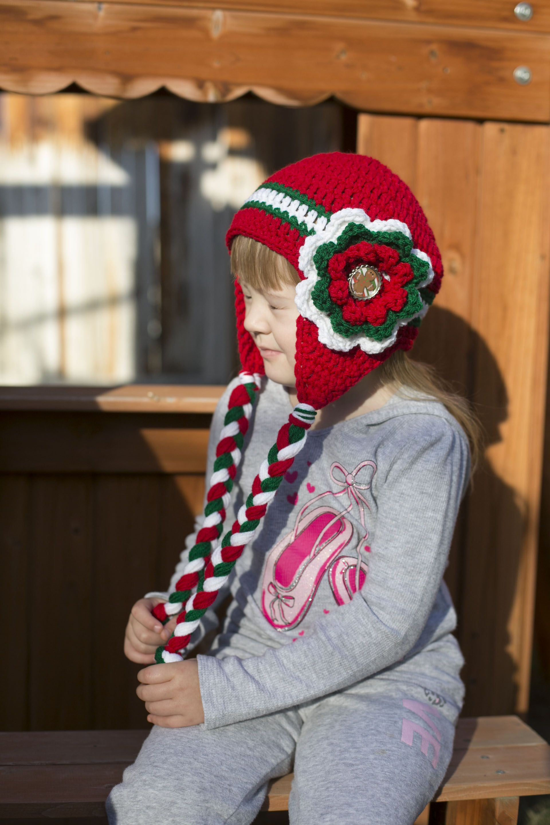 crochet Christmas beanie hat with flower, red white and green, Holiday hats for kids https://www.etsy.com/listing/208710914/christmas-crochet-beanie-red-beanie-with?ref=shop_home_active_7