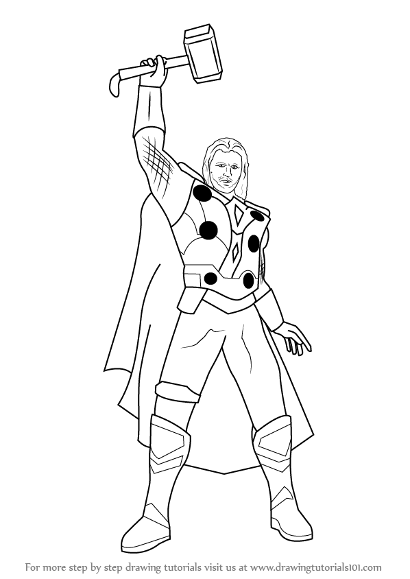 Learn How To Draw Thor Thor Step By Step Drawing Tutorials Avengers Coloring Pages Thor Drawing Drawing Tutorial