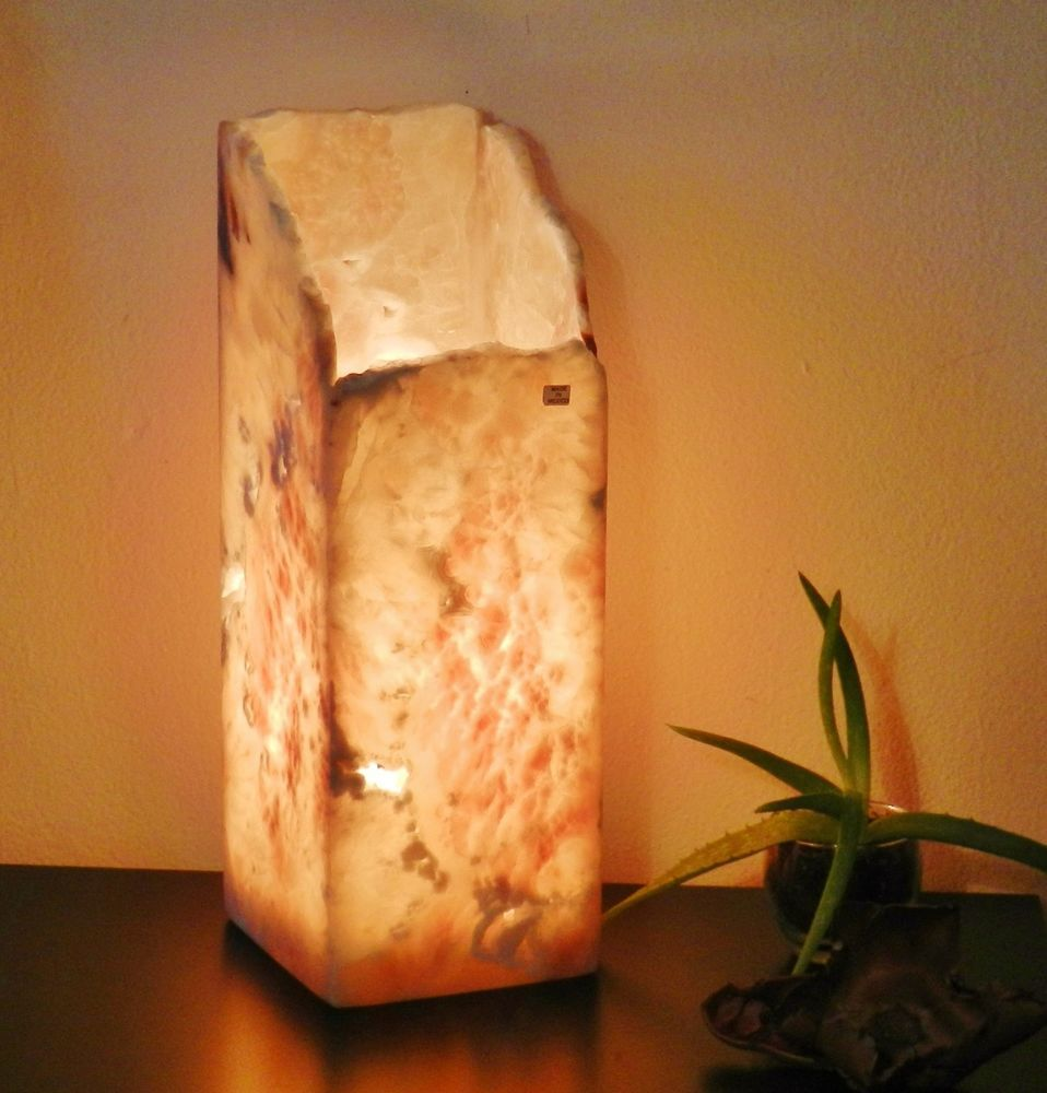 Natural Stone Onyx alabaster Spiral Table Lamp unique nightstand ...