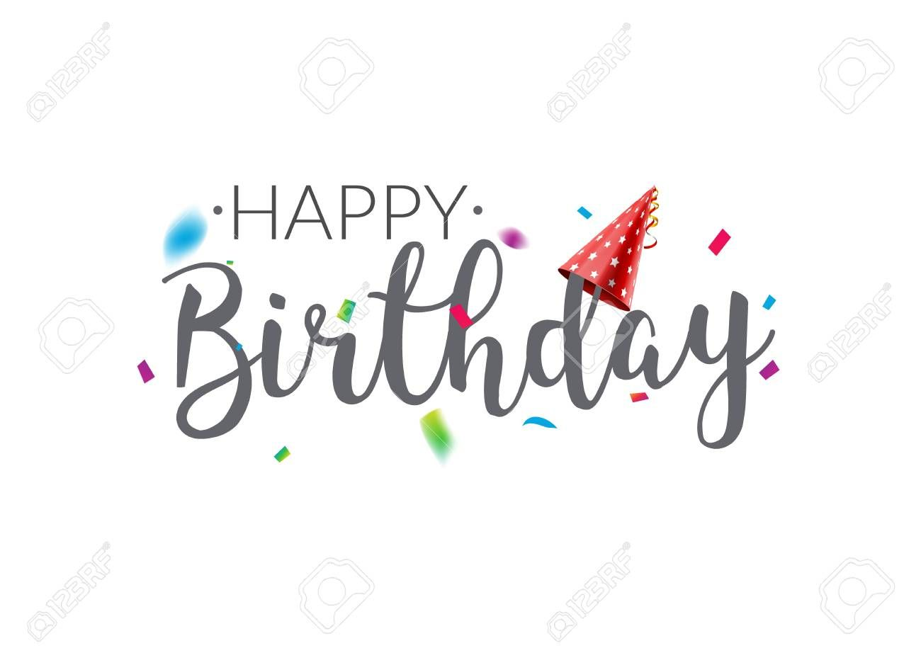 Happy Birthday Typography Vector Design Template Poster Greeting Card Confetti Banner For Birthday Typography Happy Birthday Typography Happy Birthday For Him