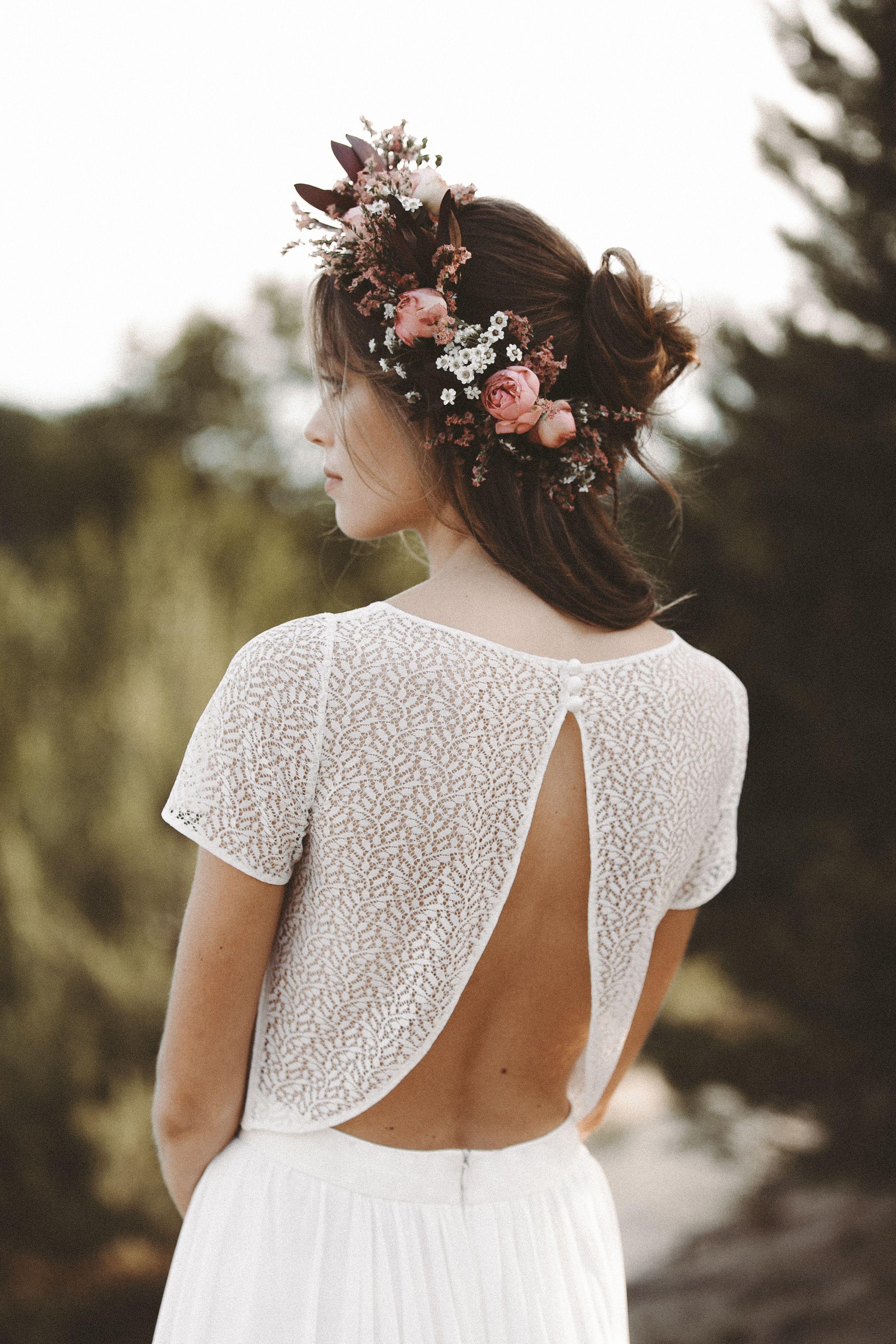 Zweiteiler Brautkleid Boho Blumenkranz  Zweiteiliges
