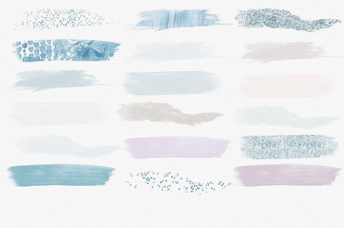 Watercolor Paint Strokes Blush Blue
