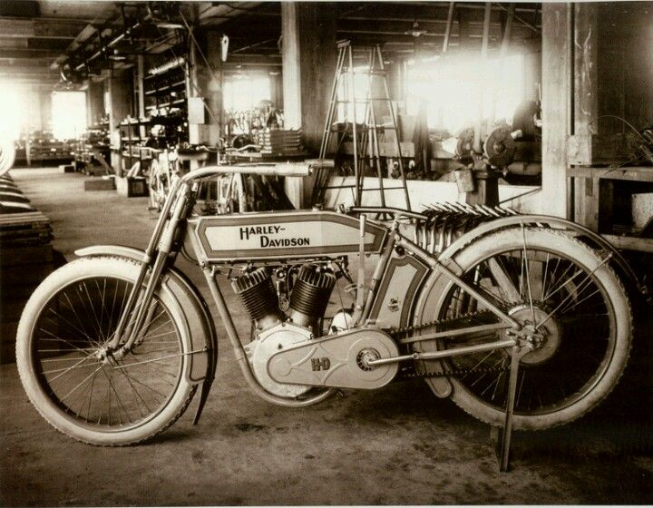 Vintage Harley in the original Minneapolis assembly plant.