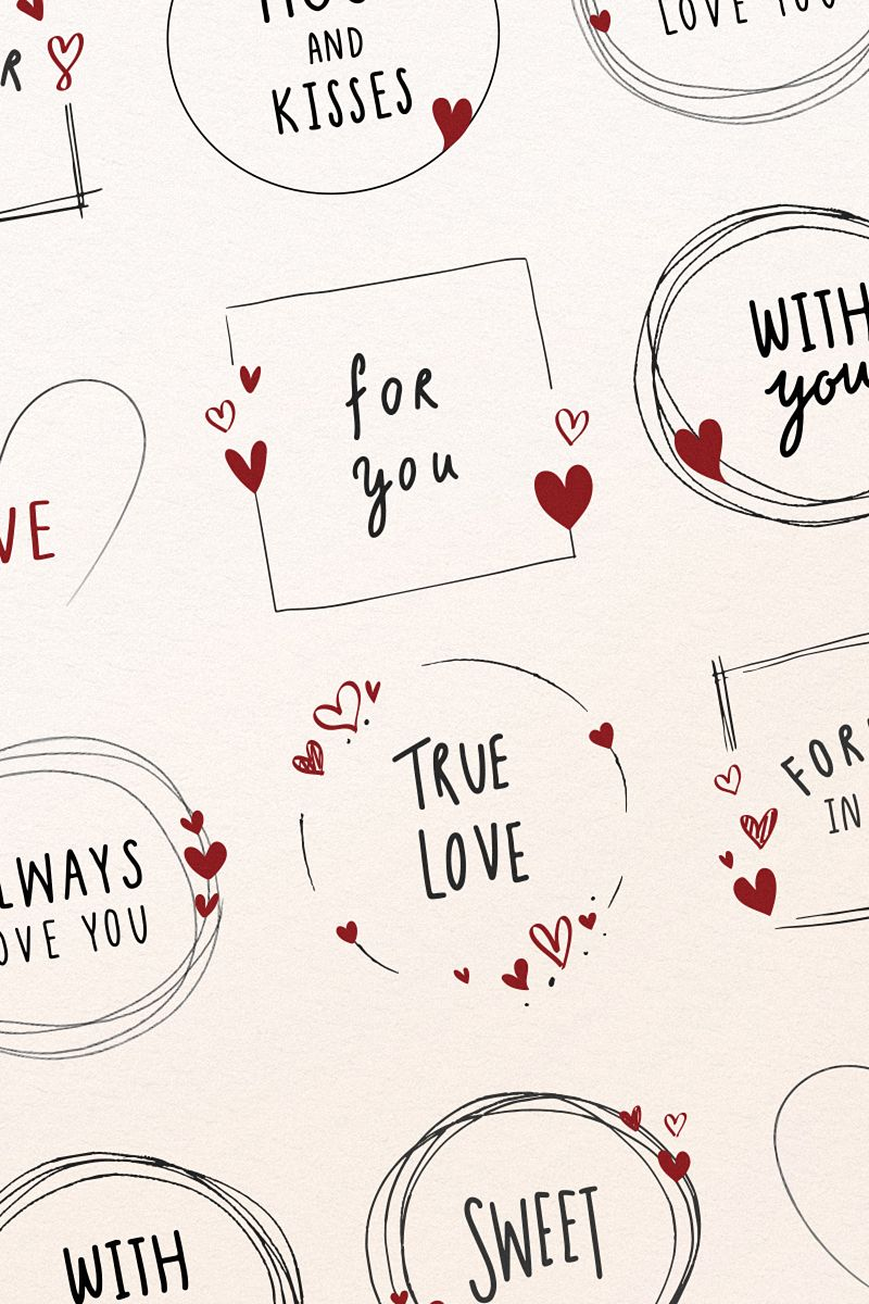 Photo of Set of valentine note in frame vectors
