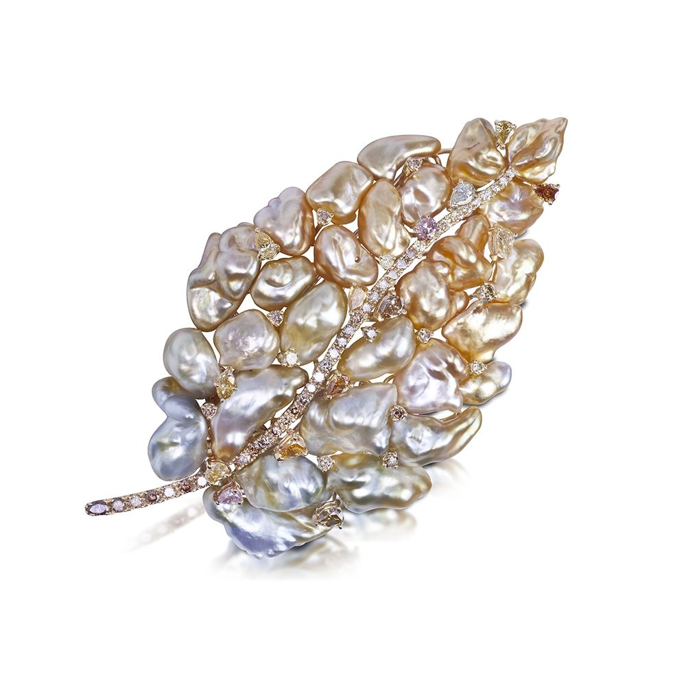 Spectacular Gold, Pearl and Diamond Brooch - Yvel