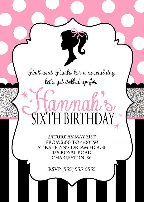 barbie invitations barbie birthday