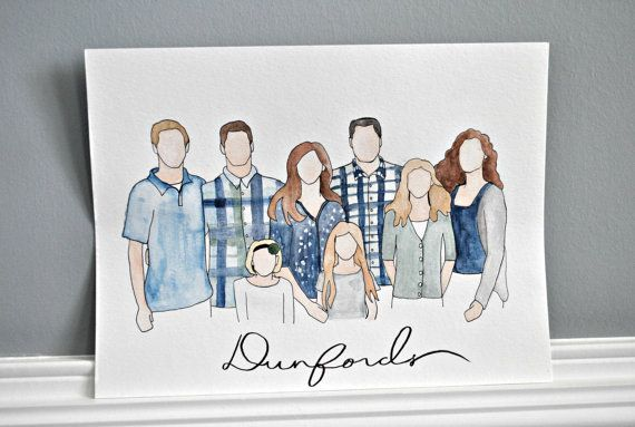 Have your family picture turned into art! I hand draw with ink and then paint your family with watercolors. Makes a wonderful gift or a unique