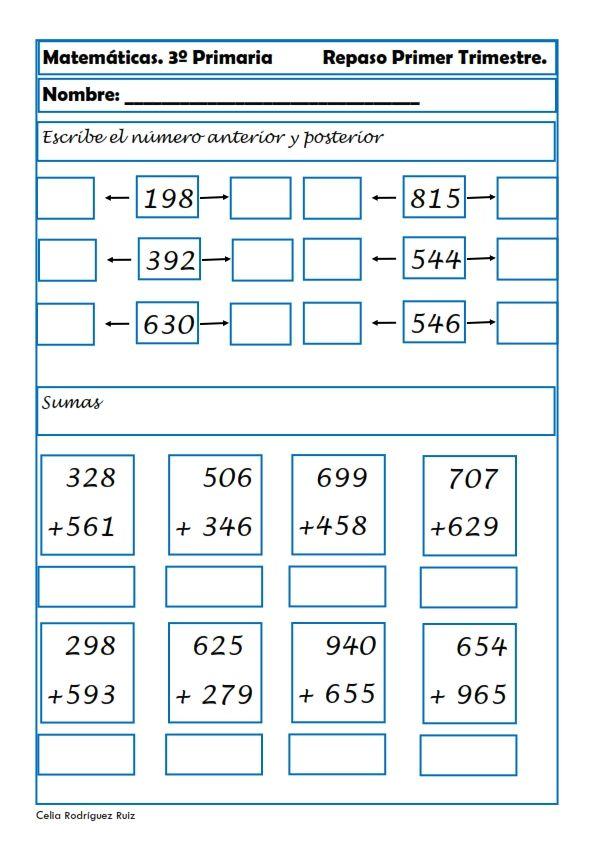 Fichas de matemáticas para Tercero de Primaria | Pinterest | Fichas ...