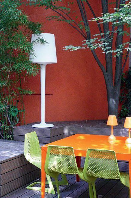 Mur exterieur jardin orange id es jardin pinterest for Mur exterieur jardin
