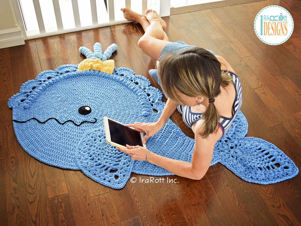 Crochet Pattern Pdf For Making A Beautiful Whale Animal Rug Or Nursery Mat With