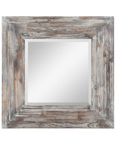 Cooper Classics Kettis Mirror Rustic White Washed Wood Frame
