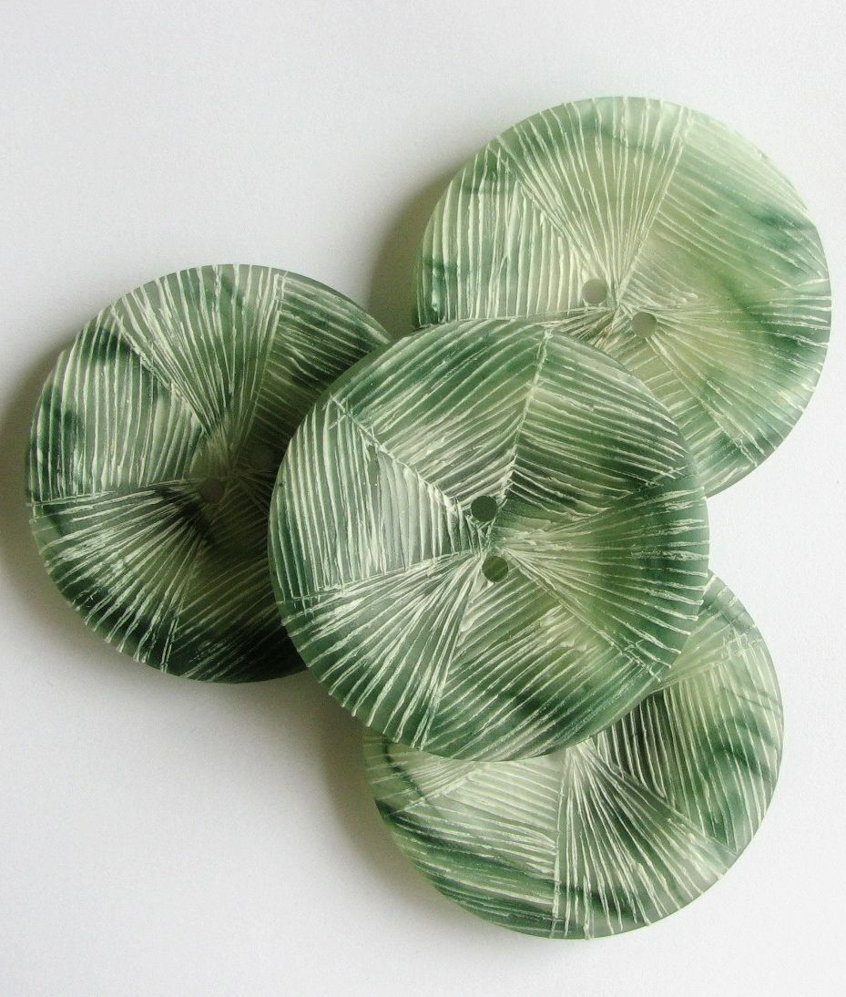 Green and white vintage buttons