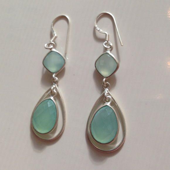 7864724ec 925 Sterling Silver Chalcedony earrings These gorgeous Sea foam/light blue  % Chalcedony earrings