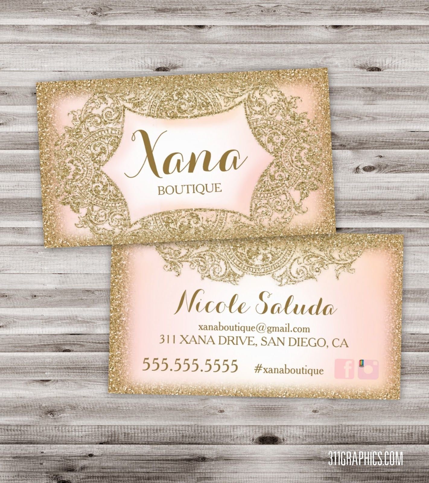Glitter Glam Business Cards boutique business cards vintage glam