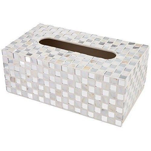 Decorative Tissue Box Holder Facial Tissue Box Cover Rectangular Decorative Glass Mosaic Tiled
