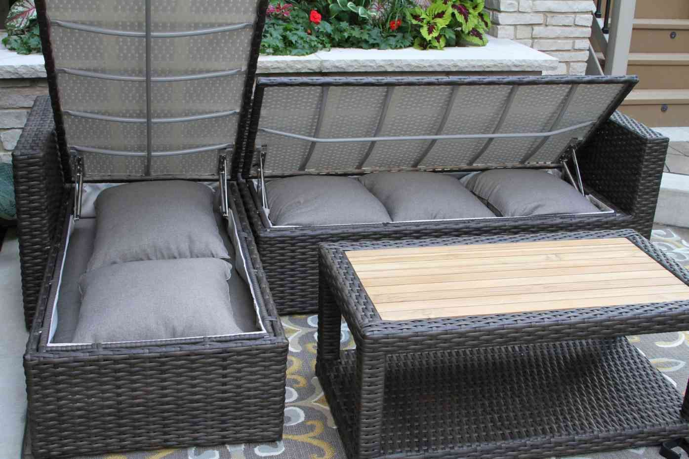 3pc Teak Brown Wicker Sectional Sofa Set With Waterproof Storage In 2020 Patio Sofa Set Patio Cushion Storage Waterproof Outdoor Furniture