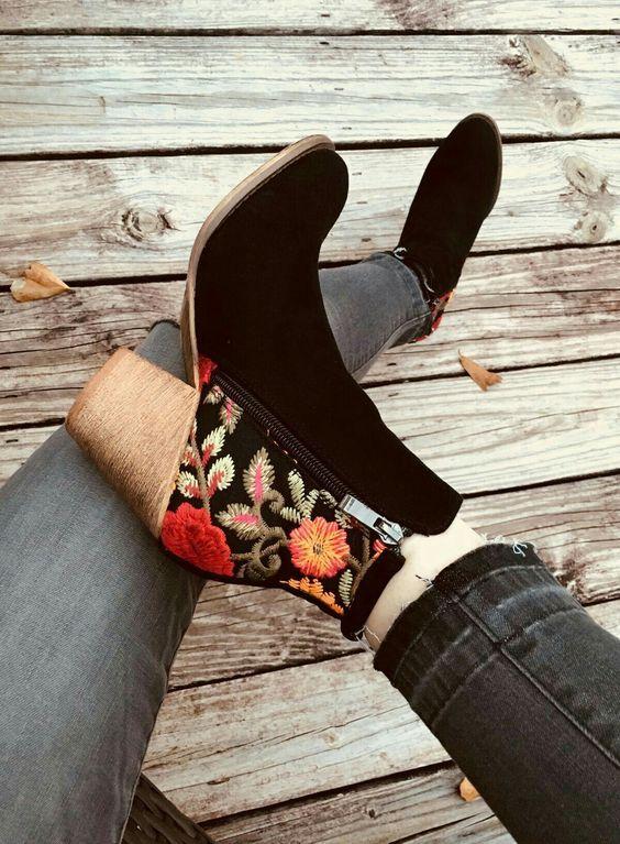 Floral Booties #floral #booties #heel #cute #burgundy 7