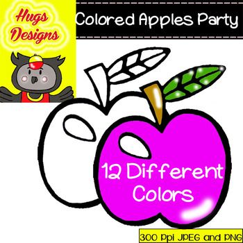 COLORED APPLES PARTY CLIPARTS SET FOR PERSONAL AND COMMERCIAL USE - TeachersPayTeachers.com
