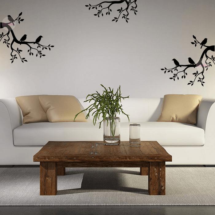 Vinilo decorativo de pared ramas con p jaros cdm vinilos for Decoracion hogar naranja