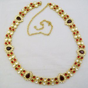 Waist chain Traditional Ruby Kundan Sari Waist Belt Chain Band