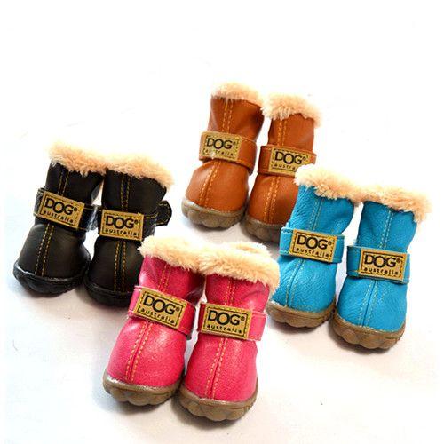 4pcs perro mascota zapatos _ perro triple alta perro perro zapatos Zapatos modelos de invierno,L,tan