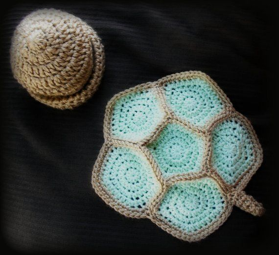 Crochet turtle shell and beanie/photo prop #crochetturtles