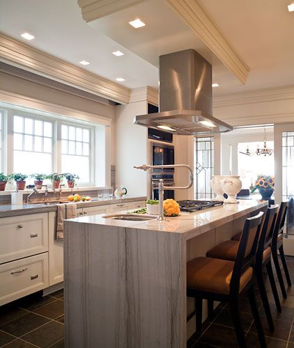 Chic Cool Island Hood Sink In Kitchen With Stove