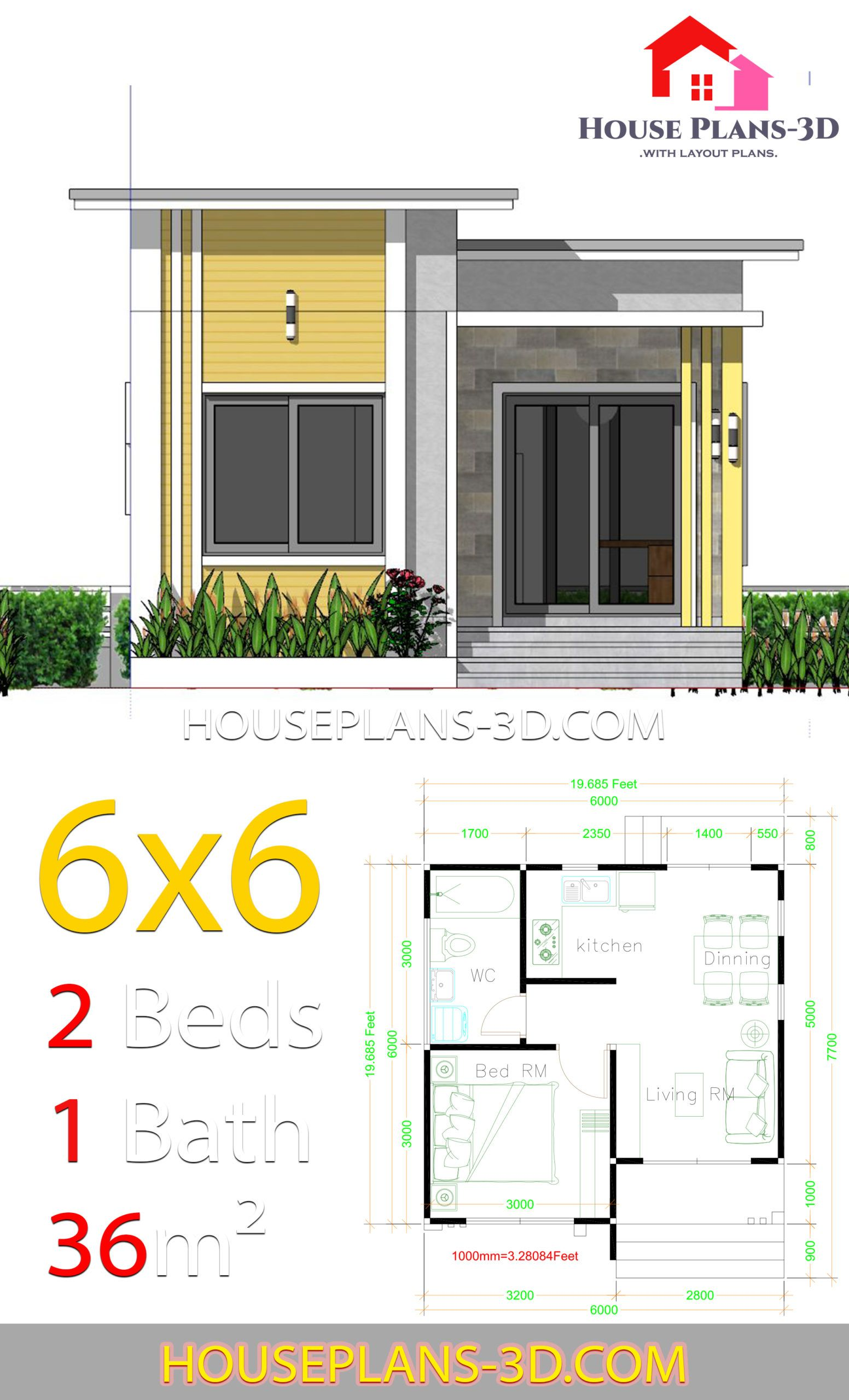House Plans 6x6 With One Bedrooms Flat Roof House Plans 3d Flat Roof House House Plans Unique House Plans