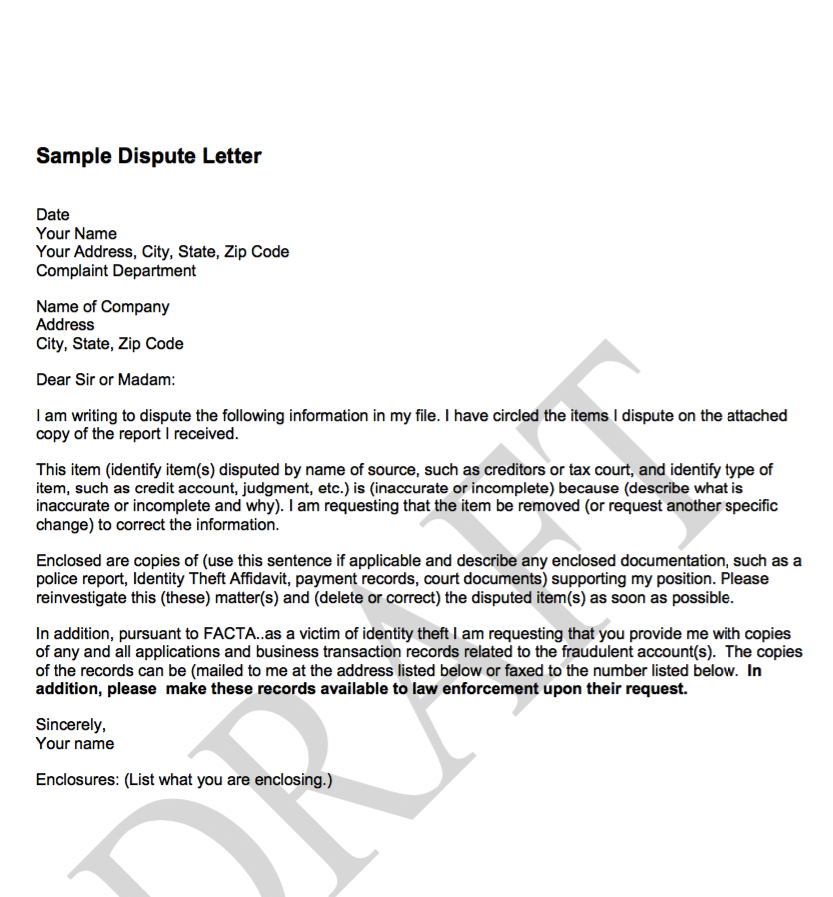Formal Business Report Sample Sample Dispute Letter  Httpexampleresumecvsampledispute .