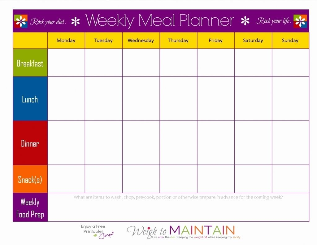 Diet Spreadsheet Template Meal Planner Template Meal Planning