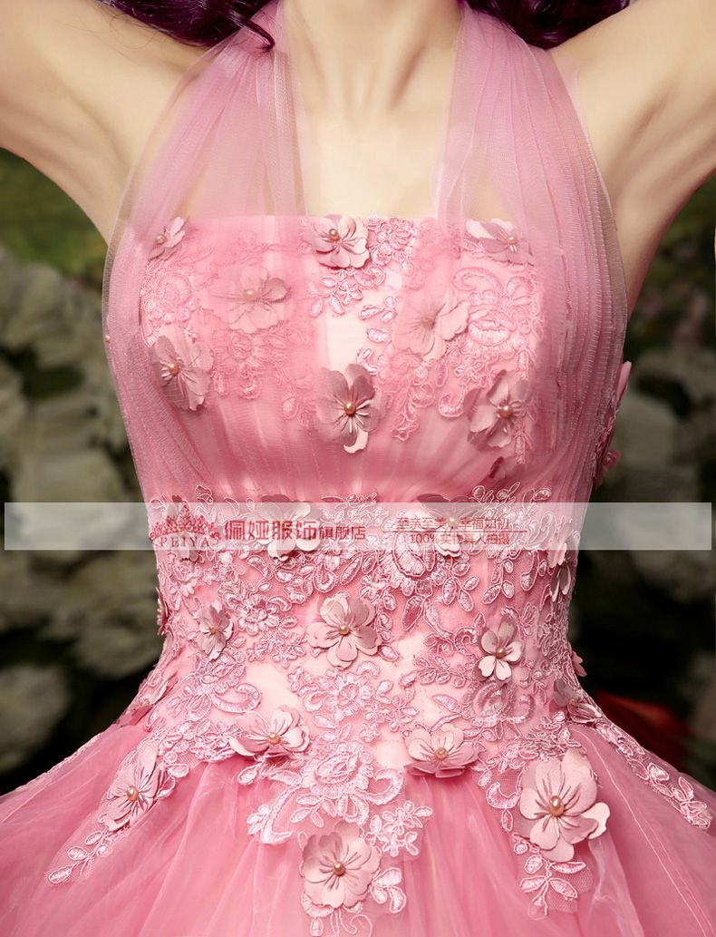 pink flower halter beading royal medieval dress sissi princess Medieval Renaissance Gown queen costume Victorian Belle ball
