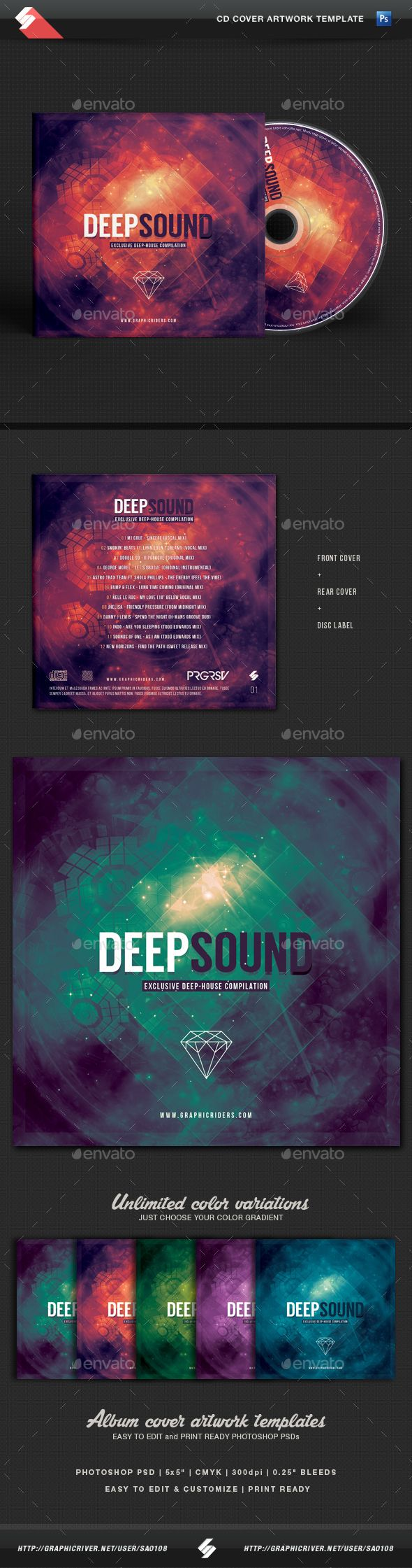 Deep Sound - CD Cover Artwork Template   Cd cover, Template and Psd ...