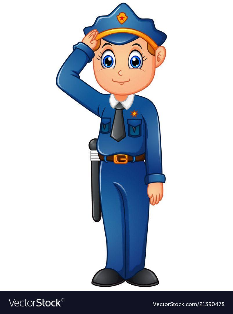 happy police cartoon vector image on vectorstock cartoons vector cartoon cartoon man pinterest