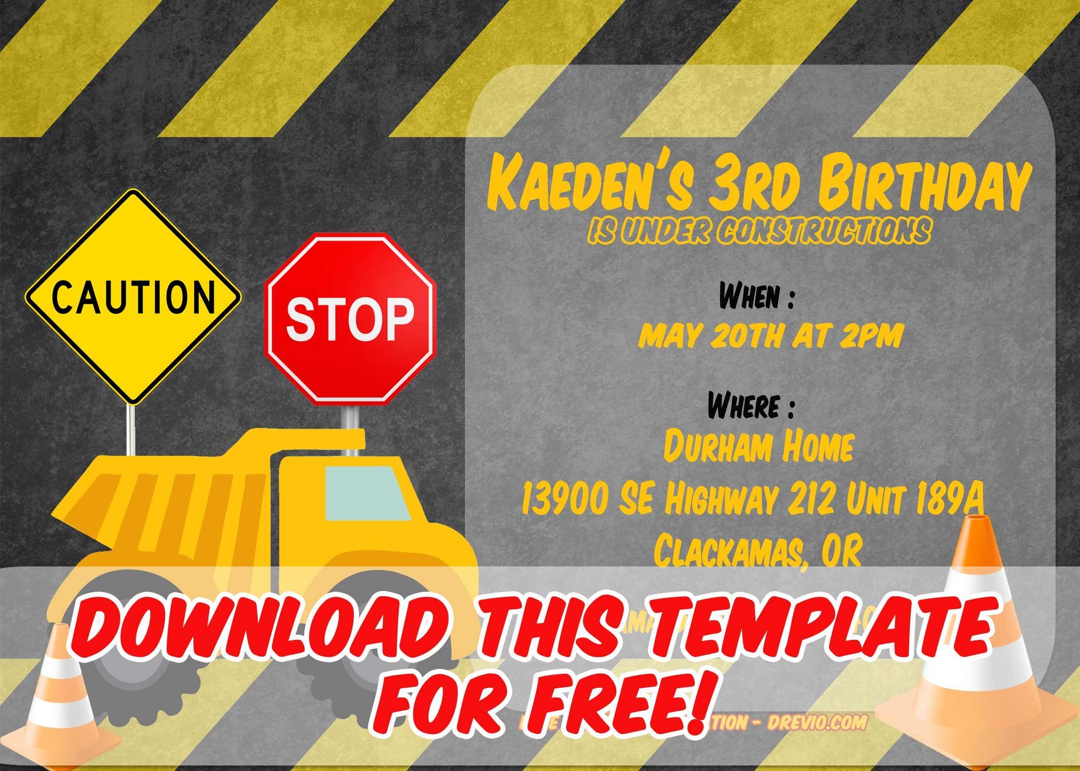 Free Printable Construction Vehicles Birthday Invitation