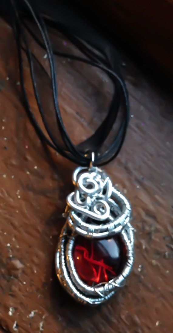 Woven Silver Red Glass Necklace by Eldwenne on Etsy, $38.00