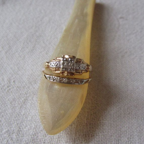 Reserved 1940s Wedding Set Engagement Ring Wedding Band