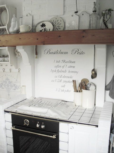 Above Kitchen Stove Wall Whitewashed Chippy Shabby Chic French