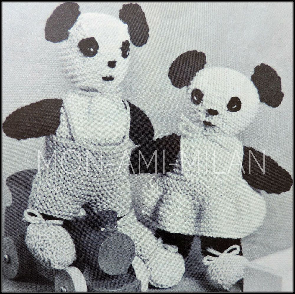 Vintage Knitting Pattern • Boy & Girl Panda Bear Doll • Soft Cuddly ...