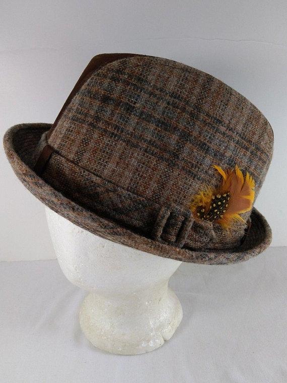 3a3688cb3a90f Vintage Dobbs Suede Leather Tweed Plaid Men s Fedora Hat